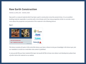 Raw Earth Construction Lecture Parts